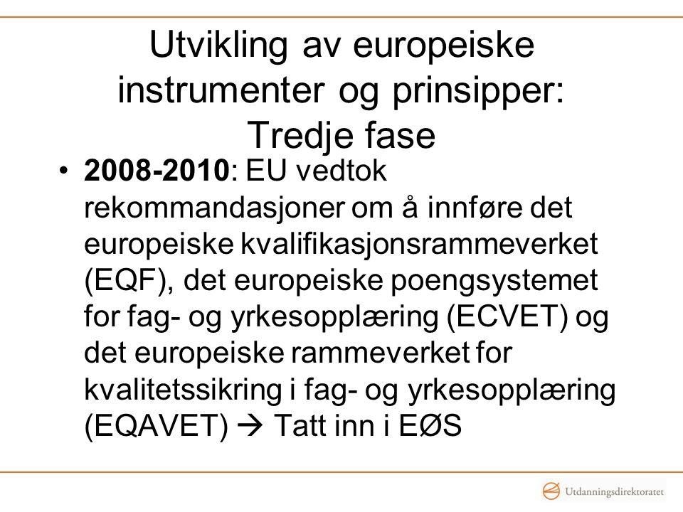 Utvikling av europeiske instrumenter og prinsipper: Tredje fase •2008-2010: EU vedtok rekommandasjoner om å innføre det europeiske kvalifikasjonsramme