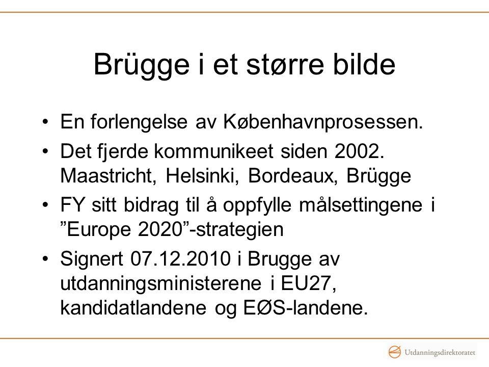 Brügge i et større bilde •En forlengelse av Københavnprosessen. •Det fjerde kommunikeet siden 2002. Maastricht, Helsinki, Bordeaux, Brügge •FY sitt bi