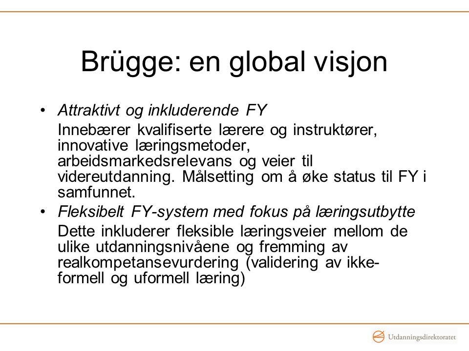 Brügge: en global visjon •Attraktivt og inkluderende FY Innebærer kvalifiserte lærere og instruktører, innovative læringsmetoder, arbeidsmarkedsreleva
