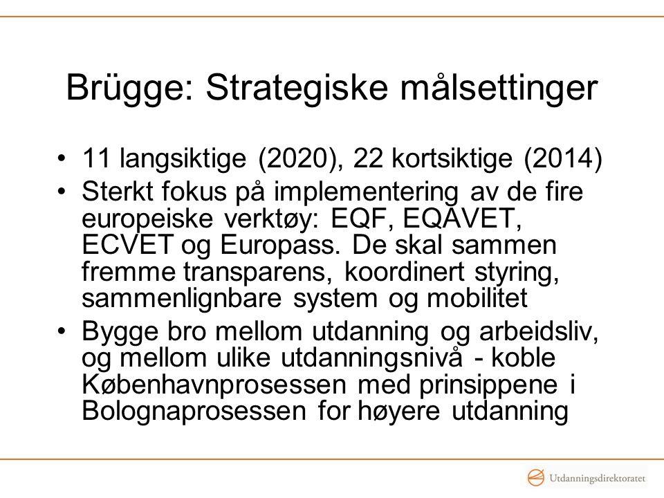 Brügge: Strategiske målsettinger •11 langsiktige (2020), 22 kortsiktige (2014) •Sterkt fokus på implementering av de fire europeiske verktøy: EQF, EQA