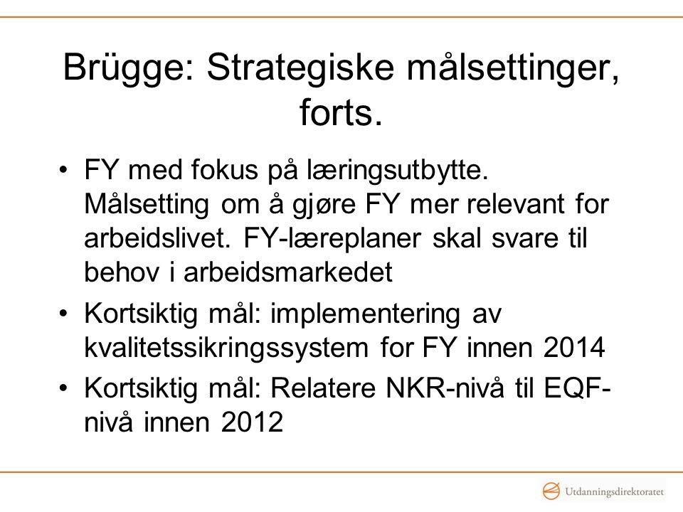 Brügge: Strategiske målsettinger, forts. •FY med fokus på læringsutbytte. Målsetting om å gjøre FY mer relevant for arbeidslivet. FY-læreplaner skal s