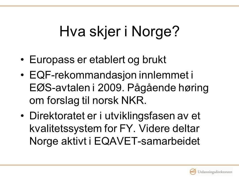 Hva skjer i Norge? •Europass er etablert og brukt •EQF-rekommandasjon innlemmet i EØS-avtalen i 2009. Pågående høring om forslag til norsk NKR. •Direk