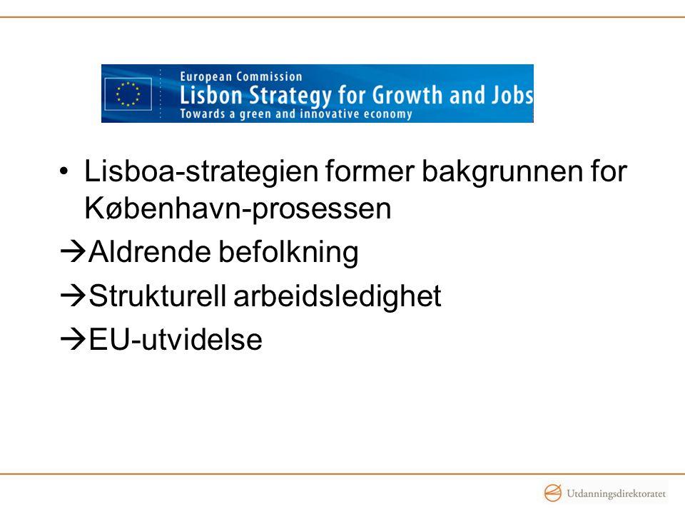 An agenda for new skills and jobs •Et av syv flaggskipinitiativ i Europe 2020 •Modernisere arbeidsmarkedet med fokus på tilegnelse av nye ferdigheter •Redusere arbeidsledighet og øke produktivitet •Utdanning: Økt satsning fra Kommisjonen på samarbeid innen FY.