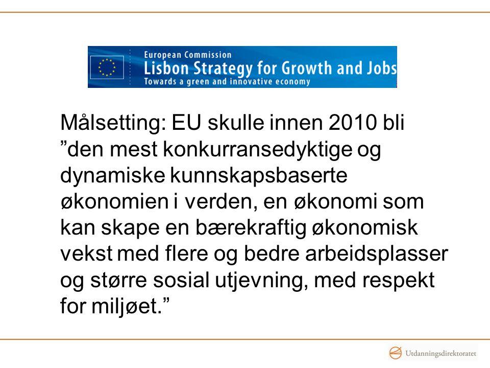 """Målsetting: EU skulle innen 2010 bli """"den mest konkurransedyktige og dynamiske kunnskapsbaserte økonomien i verden, en økonomi som kan skape en bærekr"""