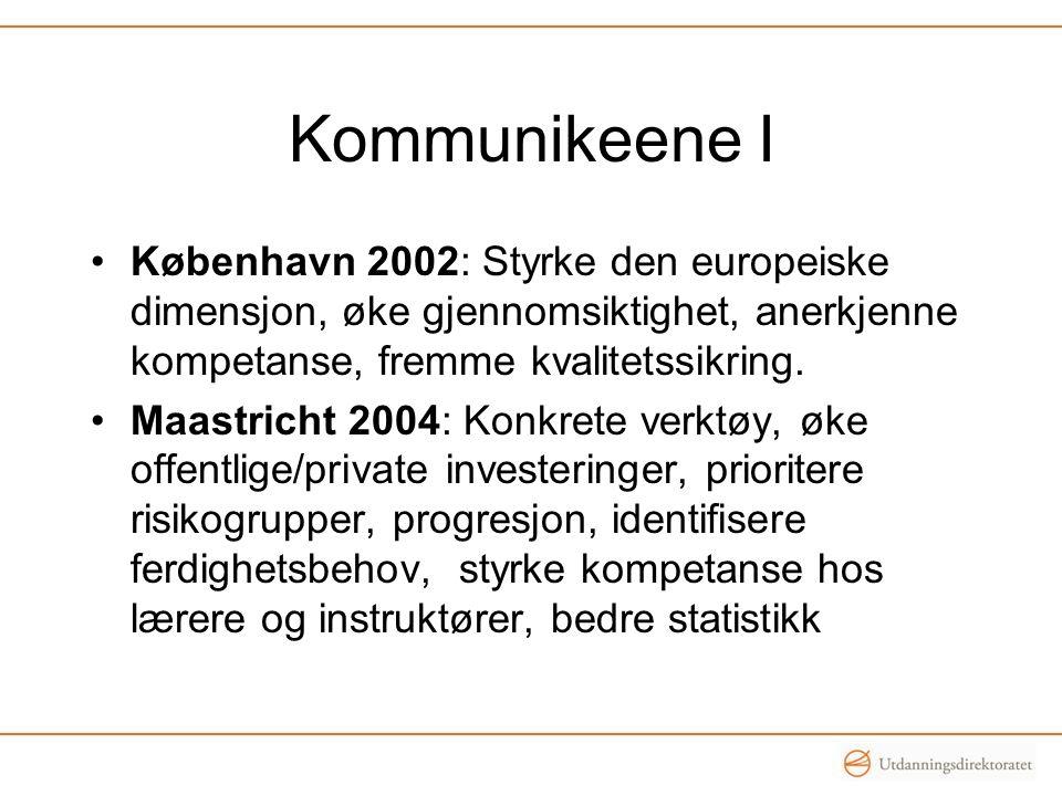 Kommunikeene I •København 2002: Styrke den europeiske dimensjon, øke gjennomsiktighet, anerkjenne kompetanse, fremme kvalitetssikring. •Maastricht 200