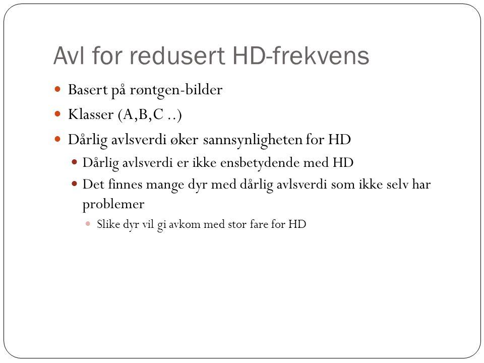Avl for redusert HD-frekvens  Basert på røntgen-bilder  Klasser (A,B,C..)  Dårlig avlsverdi øker sannsynligheten for HD  Dårlig avlsverdi er ikke