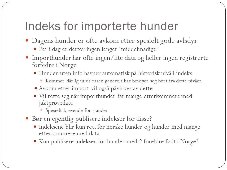 """Indeks for importerte hunder  Dagens hunder er ofte avkom etter spesielt gode avlsdyr  Per i dag er derfor ingen lenger """"middelmådige""""  Importhunde"""