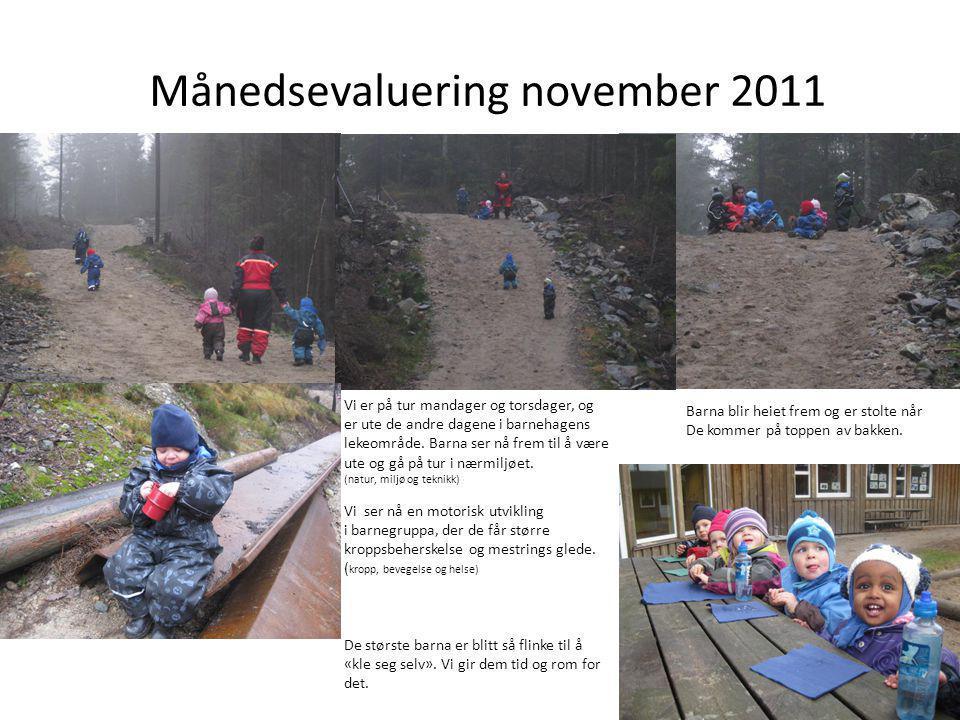 Månedsevaluering november 2011 Vi er på tur mandager og torsdager, og er ute de andre dagene i barnehagens lekeområde. Barna ser nå frem til å være ut