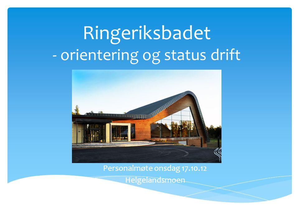 Ringeriksbadet - orientering og status drift Personalmøte onsdag 17.10.12 Helgelandsmoen