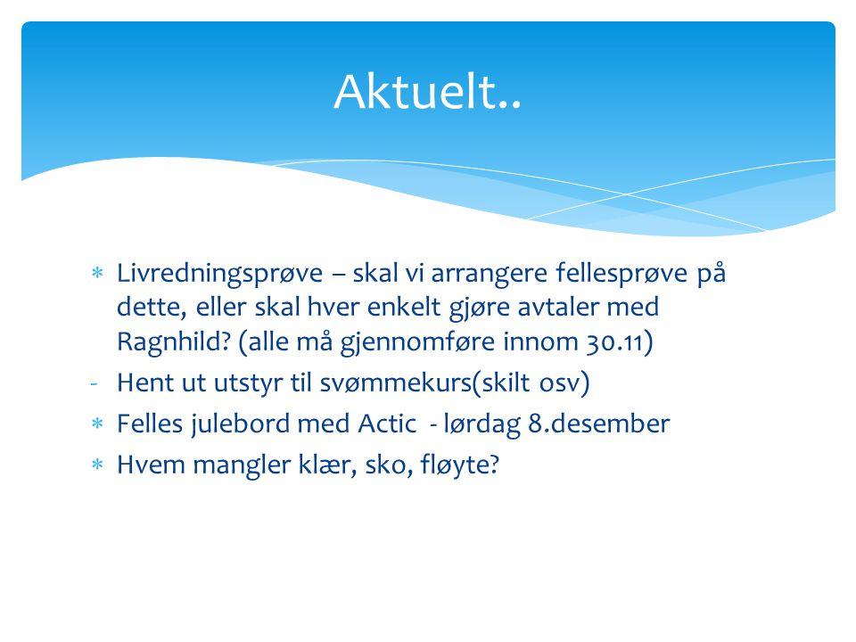  Livredningsprøve – skal vi arrangere fellesprøve på dette, eller skal hver enkelt gjøre avtaler med Ragnhild? (alle må gjennomføre innom 30.11) -Hen