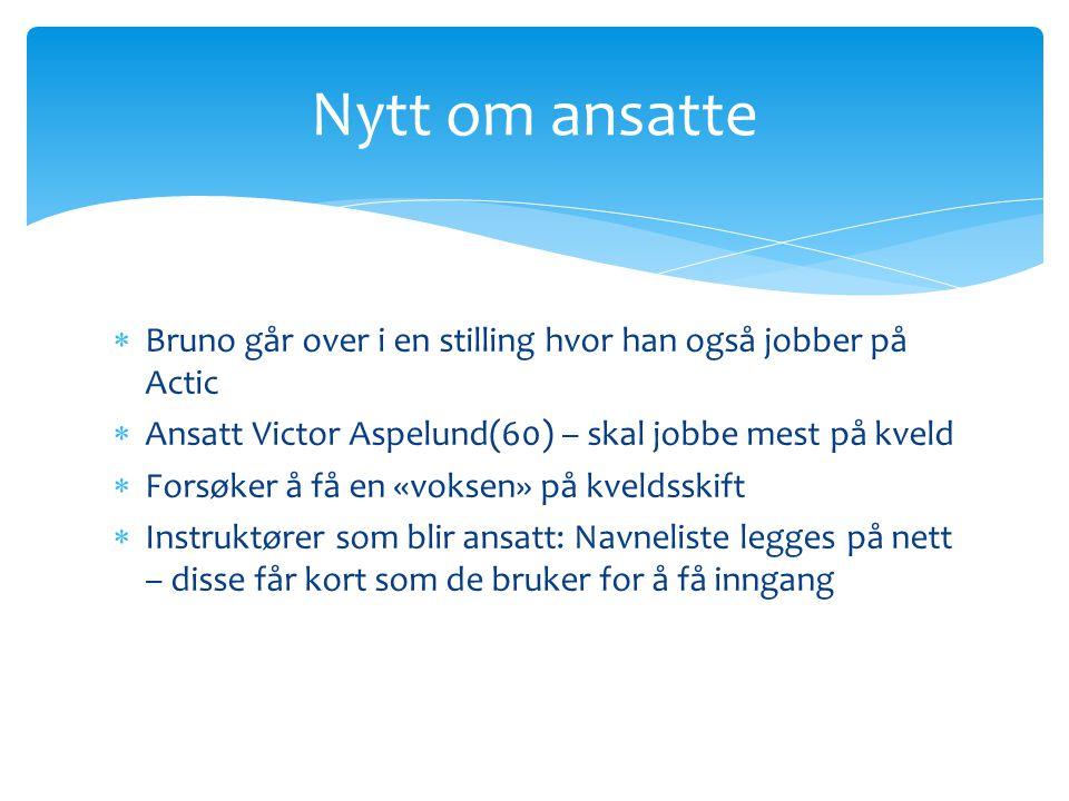  Bruno går over i en stilling hvor han også jobber på Actic  Ansatt Victor Aspelund(60) – skal jobbe mest på kveld  Forsøker å få en «voksen» på kv