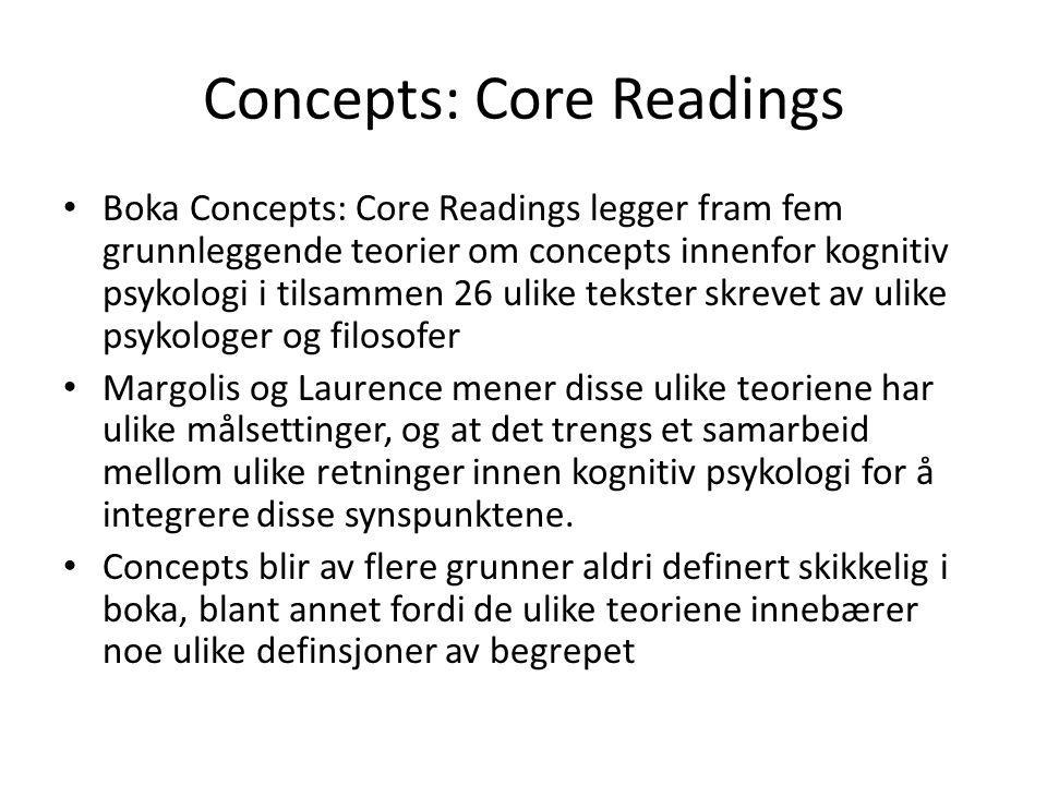Concepts: Core Readings • Boka Concepts: Core Readings legger fram fem grunnleggende teorier om concepts innenfor kognitiv psykologi i tilsammen 26 ul