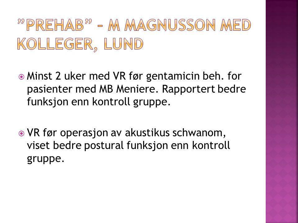  Minst 2 uker med VR før gentamicin beh. for pasienter med MB Meniere. Rapportert bedre funksjon enn kontroll gruppe.  VR før operasjon av akustikus