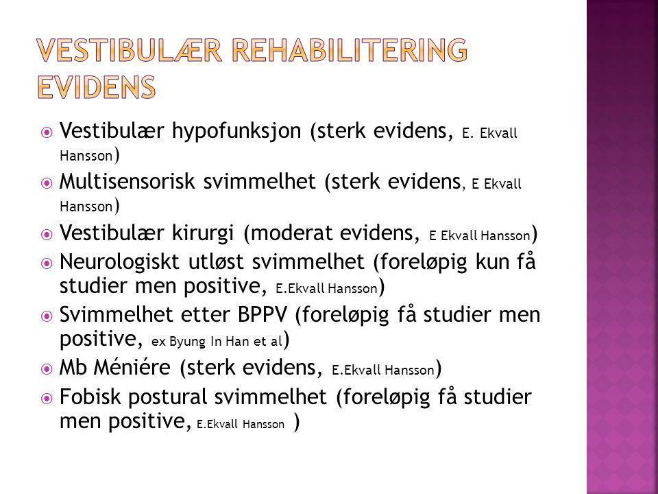  Vestibulær hypofunksjon (sterk evidens, E. Ekvall Hansson )  Multisensorisk svimmelhet (sterk evidens, E Ekvall Hansson )  Vestibulær kirurgi (mod