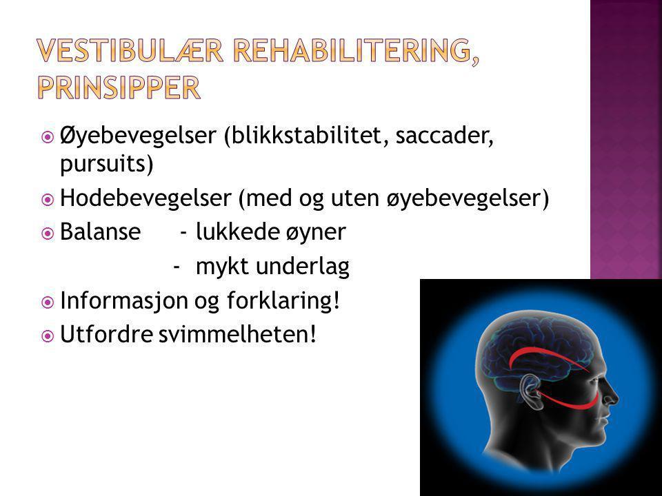  Øyebevegelser (blikkstabilitet, saccader, pursuits)  Hodebevegelser (med og uten øyebevegelser)  Balanse - lukkede øyner - mykt underlag  Informa