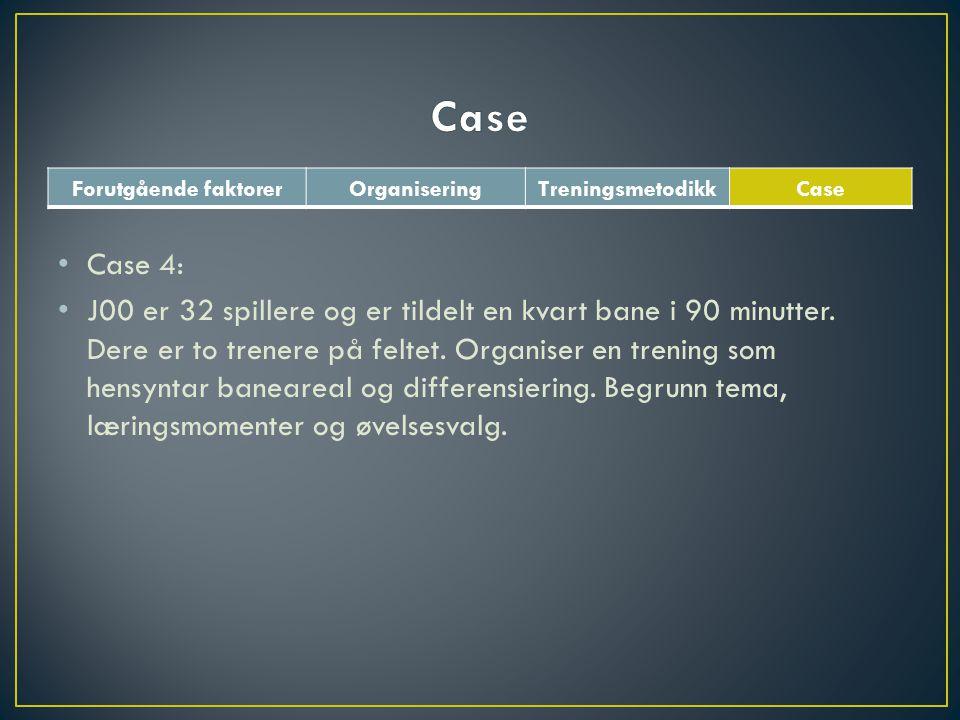 Forutgående faktorerOrganiseringTreningsmetodikkCase • Case 4: • J00 er 32 spillere og er tildelt en kvart bane i 90 minutter. Dere er to trenere på f