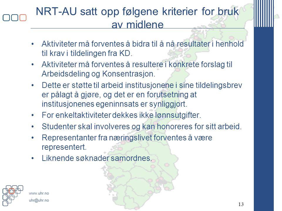 www.uhr.no uhr@uhr.no NRT-AU satt opp følgene kriterier for bruk av midlene •Aktiviteter må forventes å bidra til å nå resultater i henhold til krav i tildelingen fra KD.