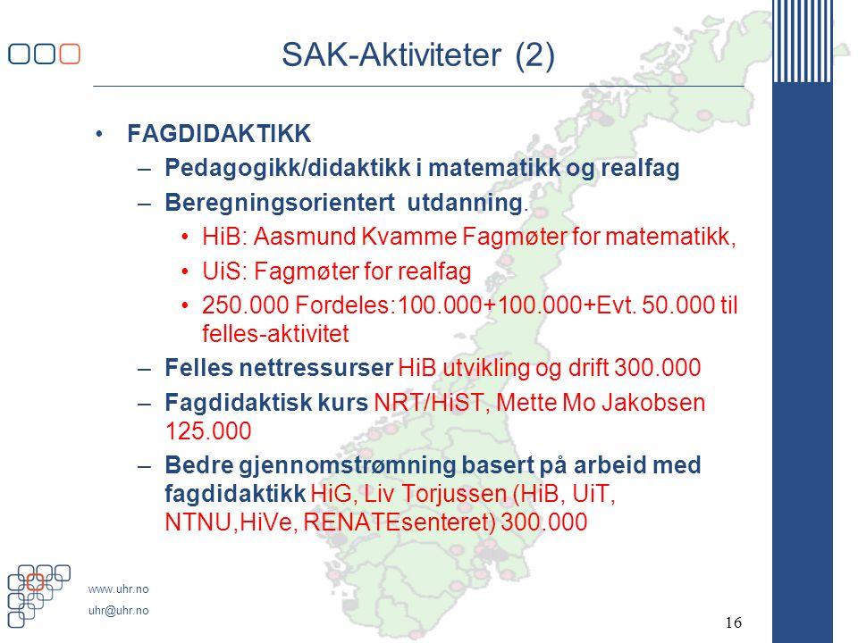www.uhr.no uhr@uhr.no SAK-Aktiviteter (2) •FAGDIDAKTIKK –Pedagogikk/didaktikk i matematikk og realfag –Beregningsorientert utdanning. •HiB: Aasmund Kv
