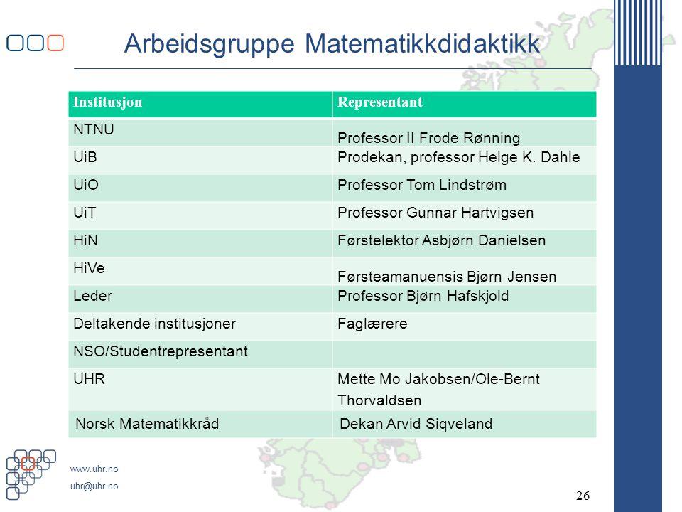 www.uhr.no uhr@uhr.no Arbeidsgruppe Matematikkdidaktikk InstitusjonRepresentant NTNU Professor II Frode Rønning UiBProdekan, professor Helge K. Dahle