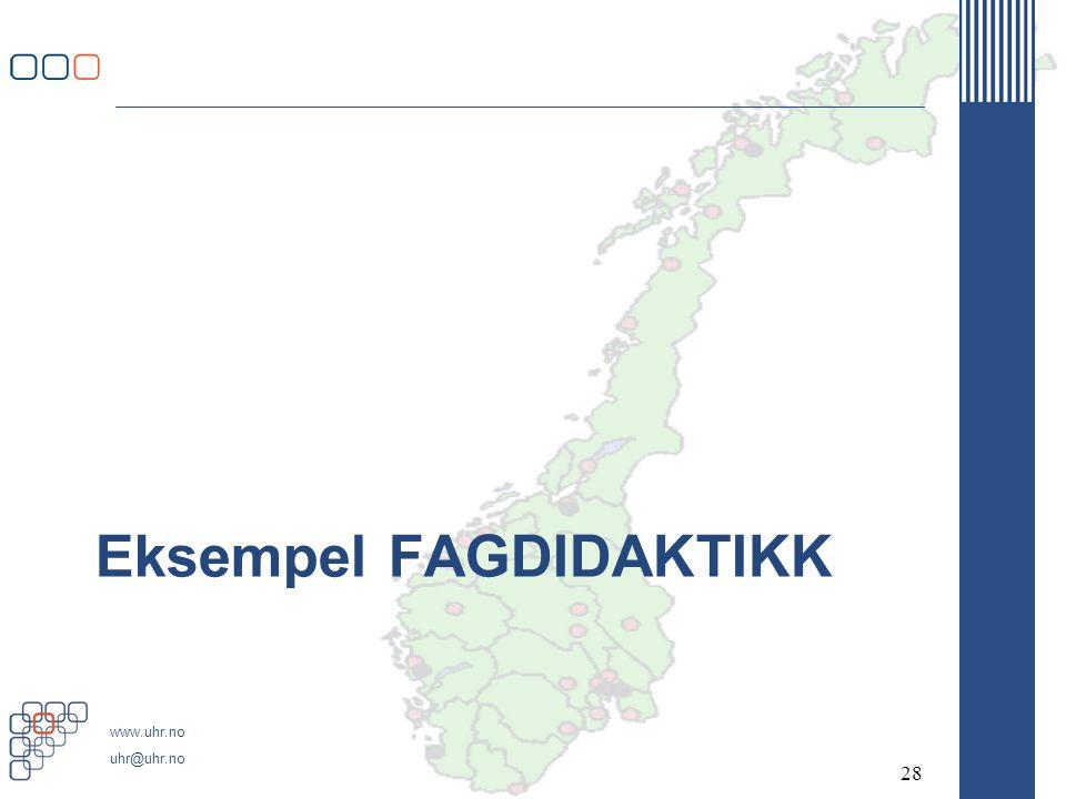 www.uhr.no uhr@uhr.no Eksempel FAGDIDAKTIKK 28
