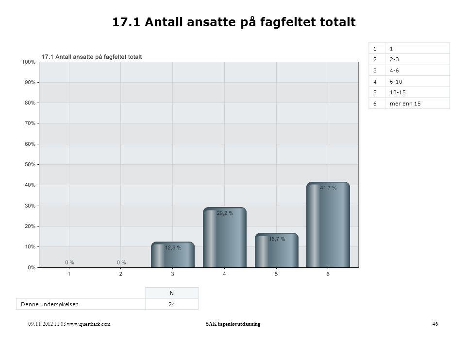 09.11.2012 11:03 www.questback.comSAK ingeniørutdanning46 17.1 Antall ansatte på fagfeltet totalt 11 22-3 34-6 46-10 510-15 6mer enn 15 N Denne unders