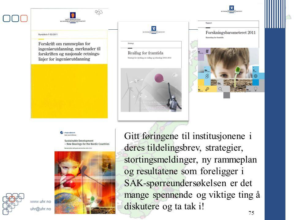 www.uhr.no uhr@uhr.no 75 Gitt føringene til institusjonene i deres tildelingsbrev, strategier, stortingsmeldinger, ny rammeplan og resultatene som for