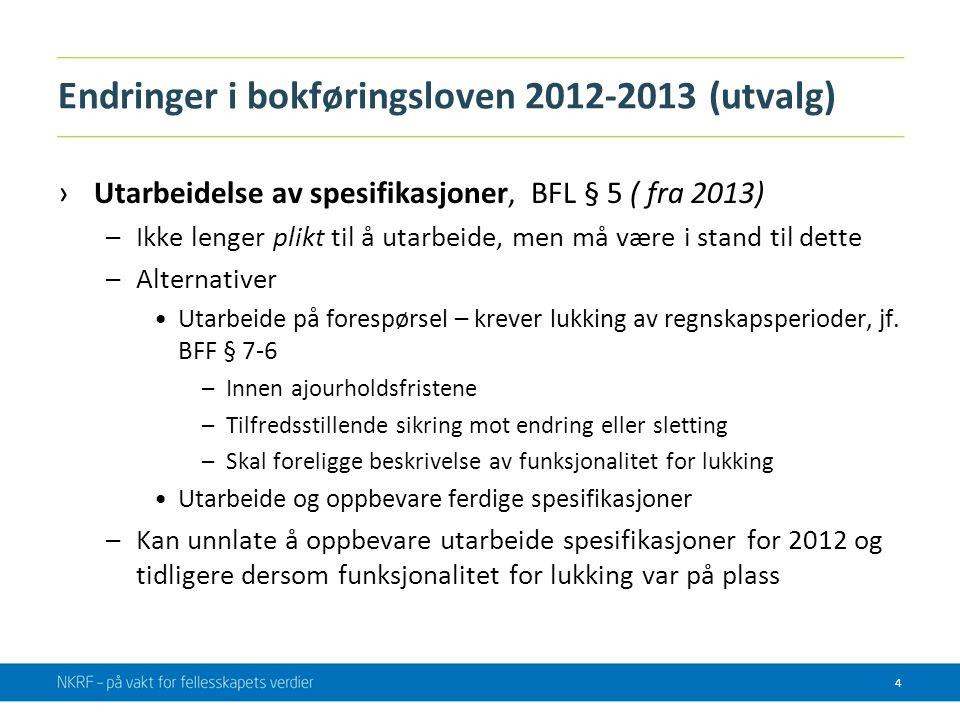Endringer i bokføringsloven 2012-2013 (utvalg) ›Utarbeidelse av spesifikasjoner, BFL § 5 ( fra 2013) –Ikke lenger plikt til å utarbeide, men må være i
