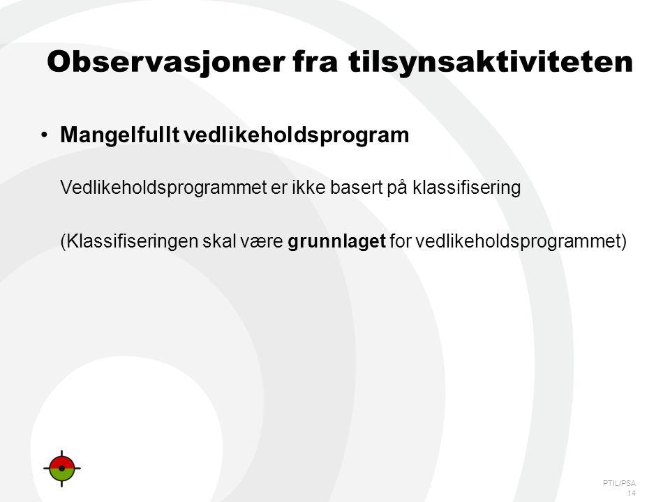 PTIL/PSA 14 Observasjoner fra tilsynsaktiviteten •Mangelfullt vedlikeholdsprogram Vedlikeholdsprogrammet er ikke basert på klassifisering (Klassifiseringen skal være grunnlaget for vedlikeholdsprogrammet)