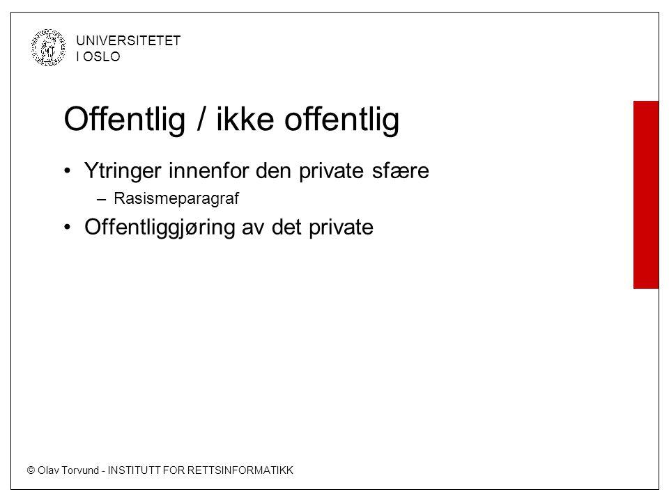 © Olav Torvund - INSTITUTT FOR RETTSINFORMATIKK UNIVERSITETET I OSLO Offentlig / ikke offentlig •Ytringer innenfor den private sfære –Rasismeparagraf •Offentliggjøring av det private