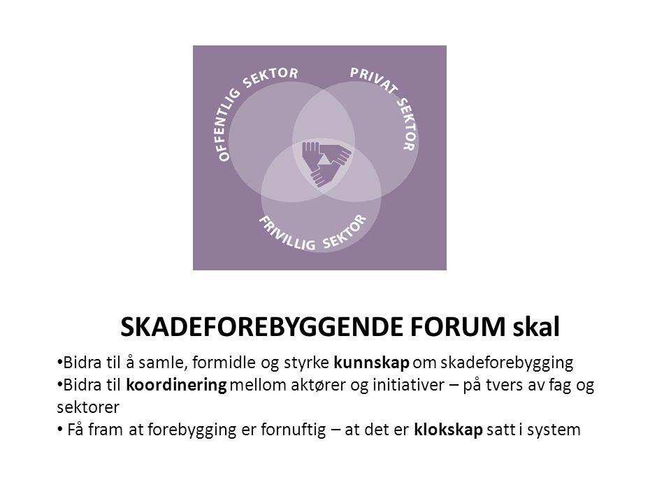 Skadeforebyggende Forum en liten organisasjon med store nettverk • Samler aktører fra frivillige organisasjoner, næringsliv og offentlig sektor • Arbeider tverrsektorielt • Møtested - sprer informasjon og motiverer til innsats, aktiviteter og forskning.