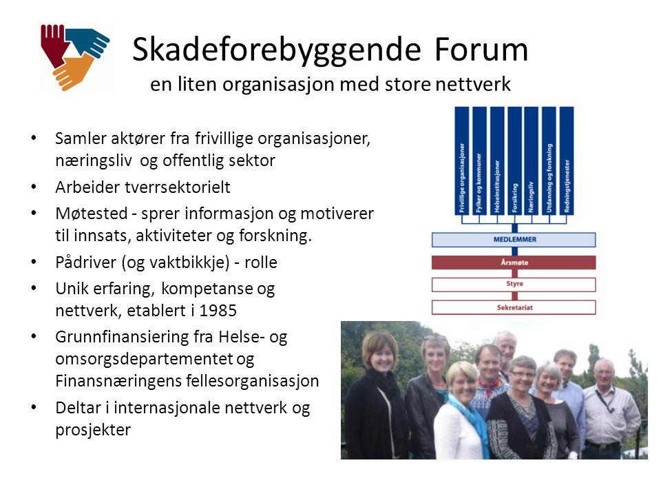 Skadeforebyggende Forum en liten organisasjon med store nettverk • Samler aktører fra frivillige organisasjoner, næringsliv og offentlig sektor • Arbe