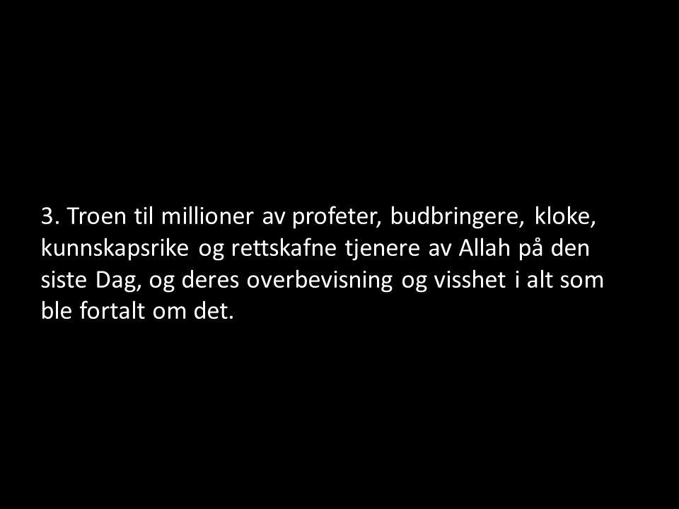 3. Troen til millioner av profeter, budbringere, kloke, kunnskapsrike og rettskafne tjenere av Allah på den siste Dag, og deres overbevisning og vissh