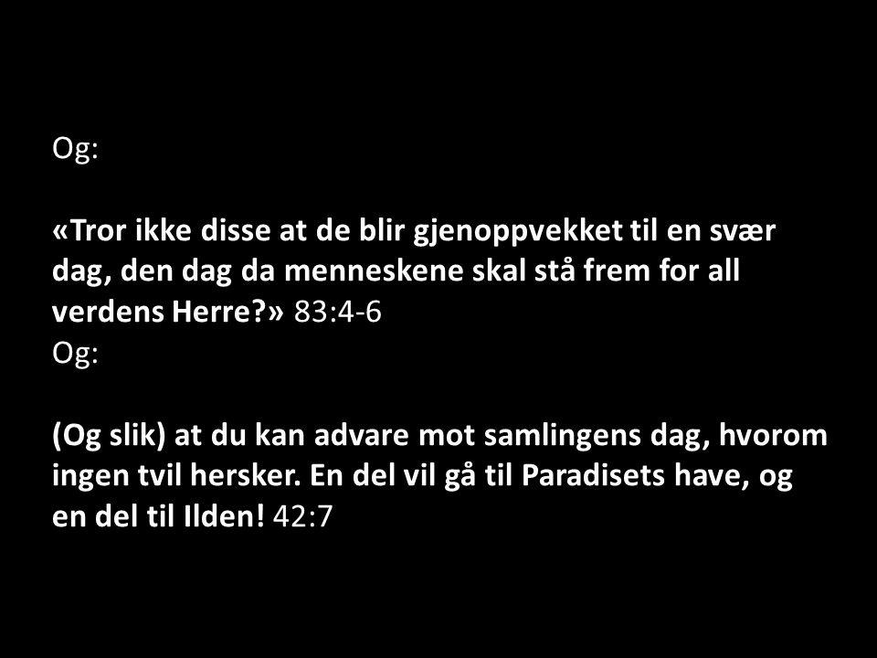 Og: «Tror ikke disse at de blir gjenoppvekket til en svær dag, den dag da menneskene skal stå frem for all verdens Herre » 83:4-6 Og: (Og slik) at du kan advare mot samlingens dag, hvorom ingen tvil hersker.