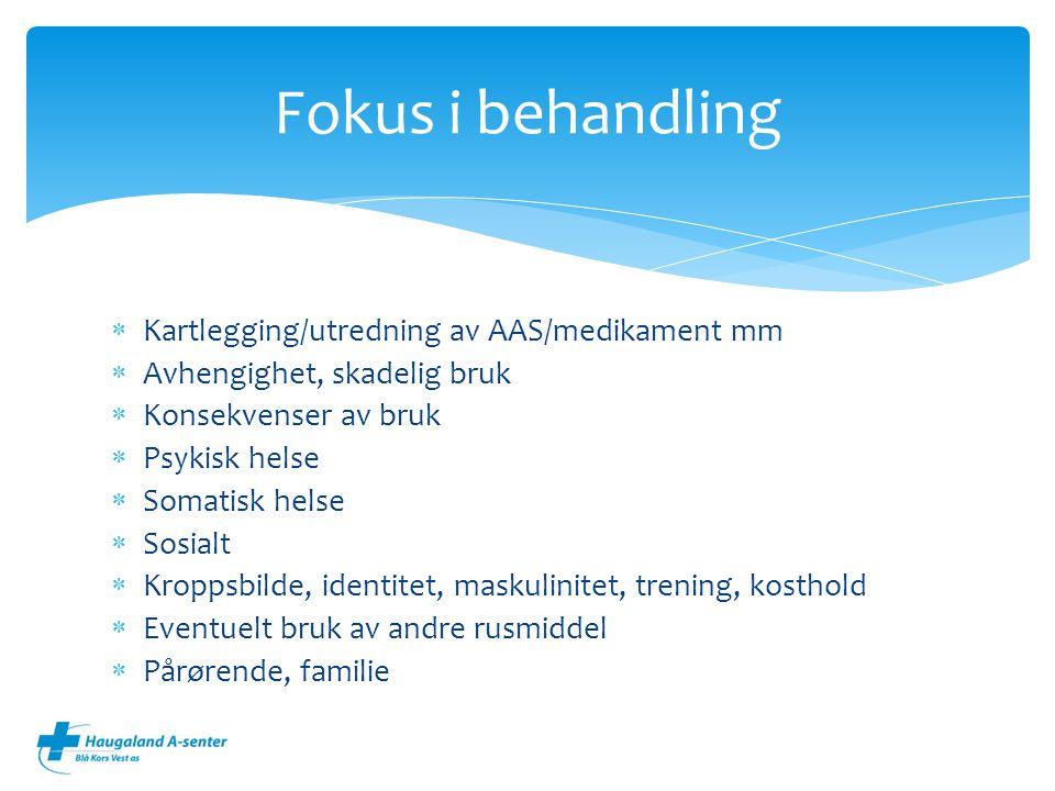  Kartlegging/utredning av AAS/medikament mm  Avhengighet, skadelig bruk  Konsekvenser av bruk  Psykisk helse  Somatisk helse  Sosialt  Kroppsbi