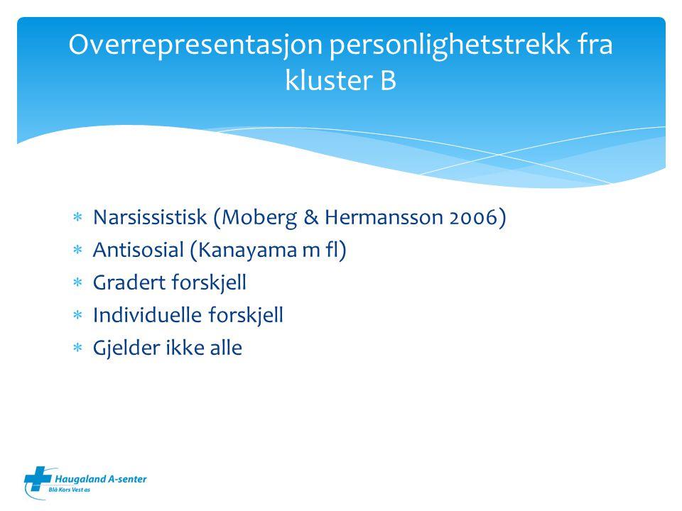  Narsissistisk (Moberg & Hermansson 2006)  Antisosial (Kanayama m fl)  Gradert forskjell  Individuelle forskjell  Gjelder ikke alle Overrepresentasjon personlighetstrekk fra kluster B