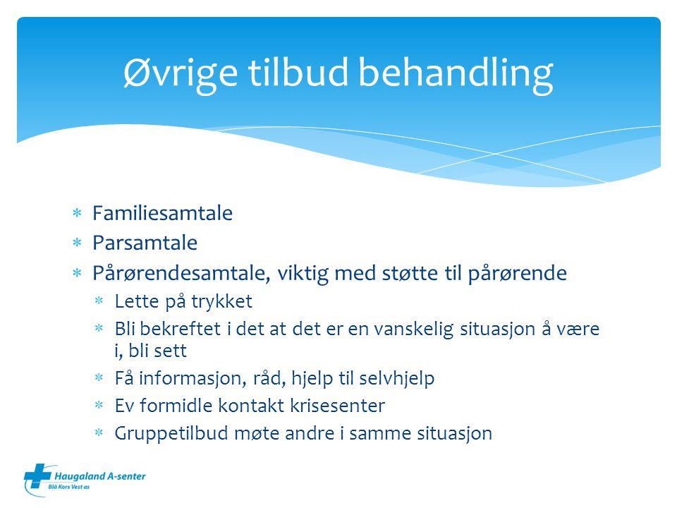  Familiesamtale  Parsamtale  Pårørendesamtale, viktig med støtte til pårørende  Lette på trykket  Bli bekreftet i det at det er en vanskelig situ