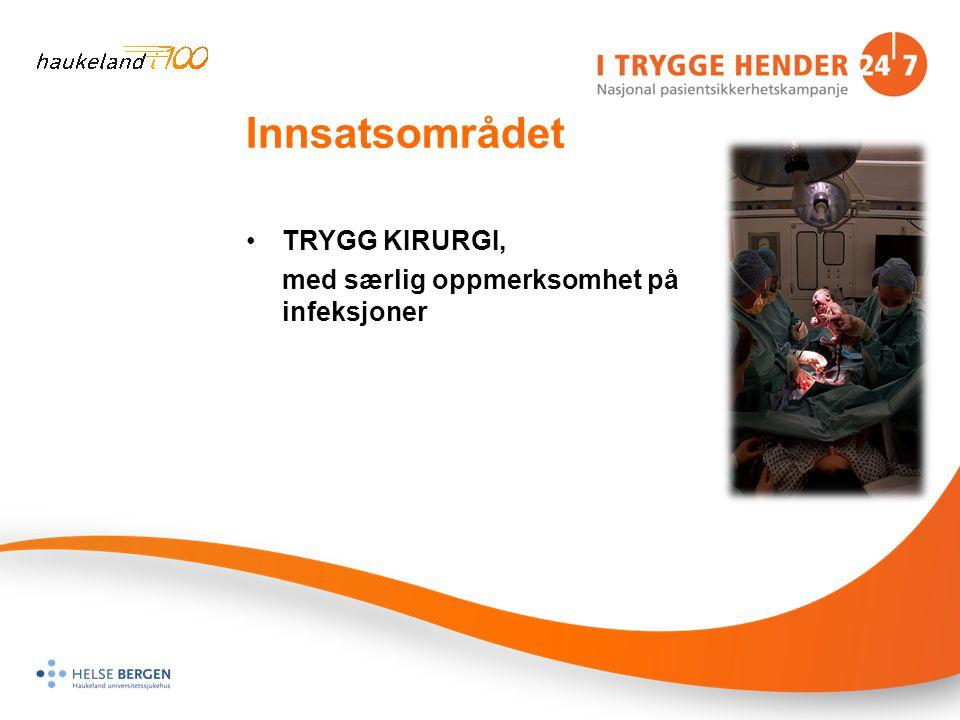 Innsatsområdet •TRYGG KIRURGI, med særlig oppmerksomhet på infeksjoner