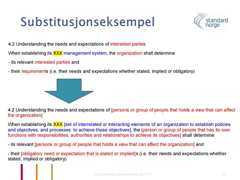 Substitusjonseksempel Håvard Hjulstad, Standard Norge, 2011-1116