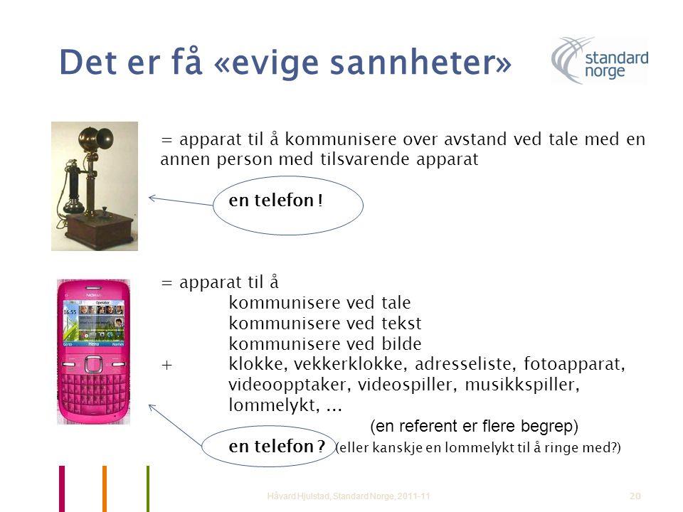 20 Det er få «evige sannheter» Håvard Hjulstad, Standard Norge, 2011-11 = apparat til å kommunisere over avstand ved tale med en annen person med tils
