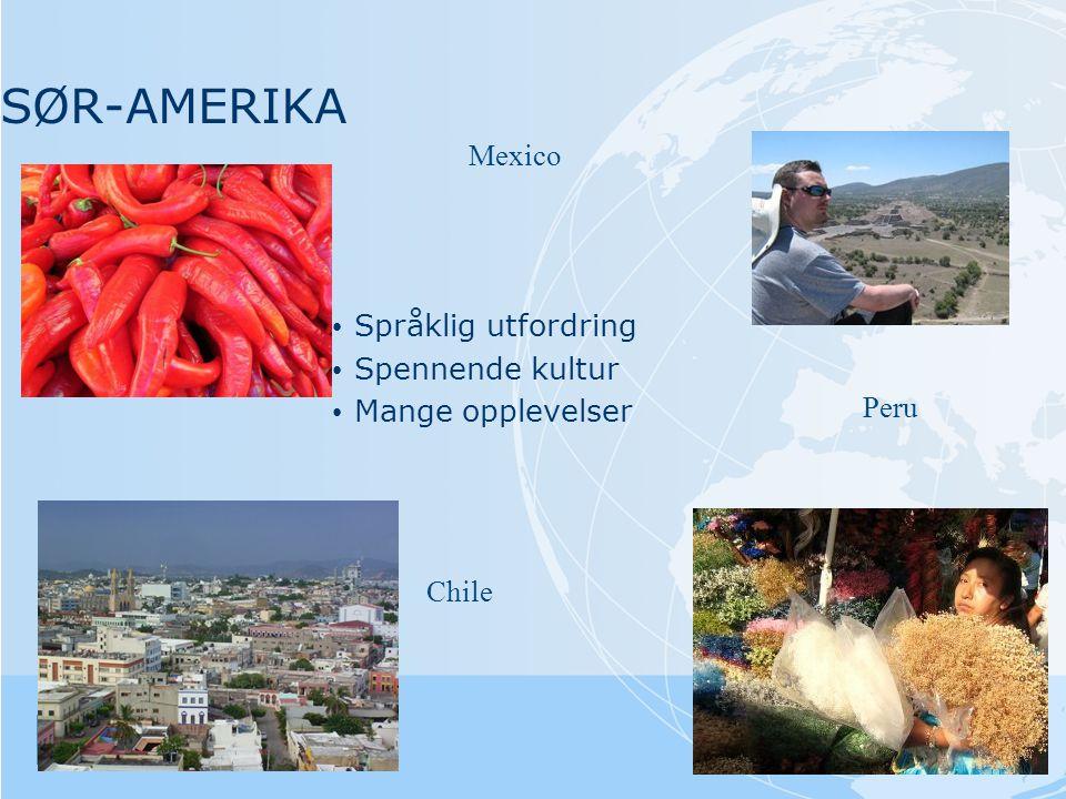 SØR-AMERIKA Mexico Chile Peru • Språklig utfordring • Spennende kultur • Mange opplevelser