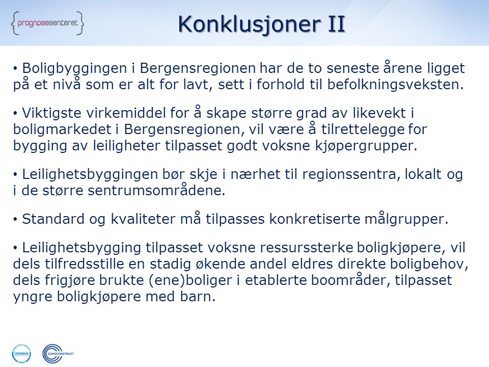 Konklusjoner II • Boligbyggingen i Bergensregionen har de to seneste årene ligget på et nivå som er alt for lavt, sett i forhold til befolkningsvekste