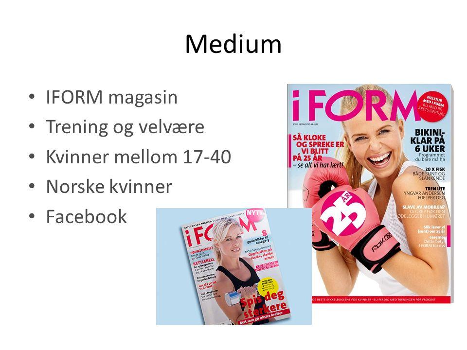 Medium • IFORM magasin • Trening og velvære • Kvinner mellom 17-40 • Norske kvinner • Facebook