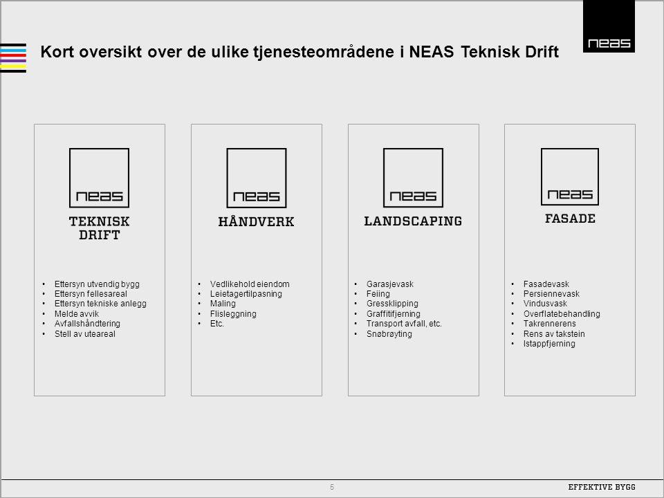 Kort oversikt over de ulike tjenesteområdene i NEAS Teknisk Drift 5 •Ettersyn utvendig bygg •Ettersyn fellesareal •Ettersyn tekniske anlegg •Melde avv