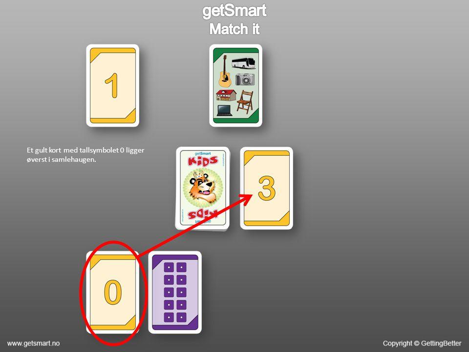 Et gult kort med tallsymbolet 0 ligger øverst i samlehaugen.