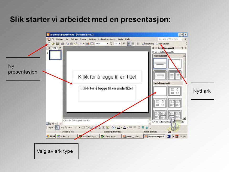 Ny presentasjon Slik starter vi arbeidet med en presentasjon: Nytt ark Valg av ark type