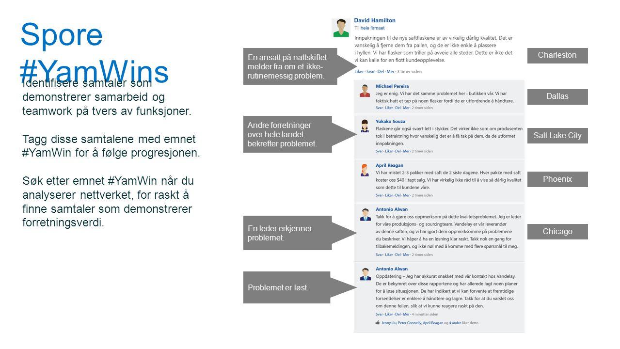 Spore #YamWins Identifisere samtaler som demonstrerer samarbeid og teamwork på tvers av funksjoner. Tagg disse samtalene med emnet #YamWin for å følge