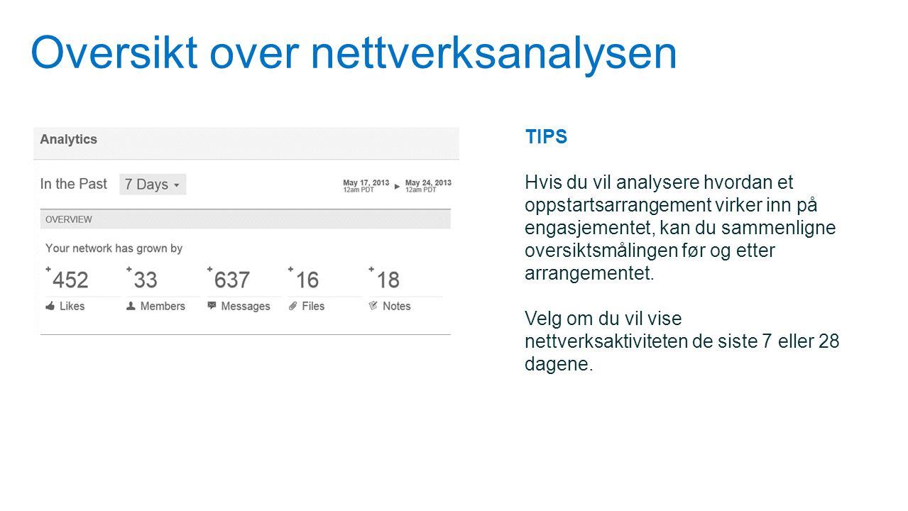 Oversikt over nettverksanalysen TIPS Hvis du vil analysere hvordan et oppstartsarrangement virker inn på engasjementet, kan du sammenligne oversiktsmå