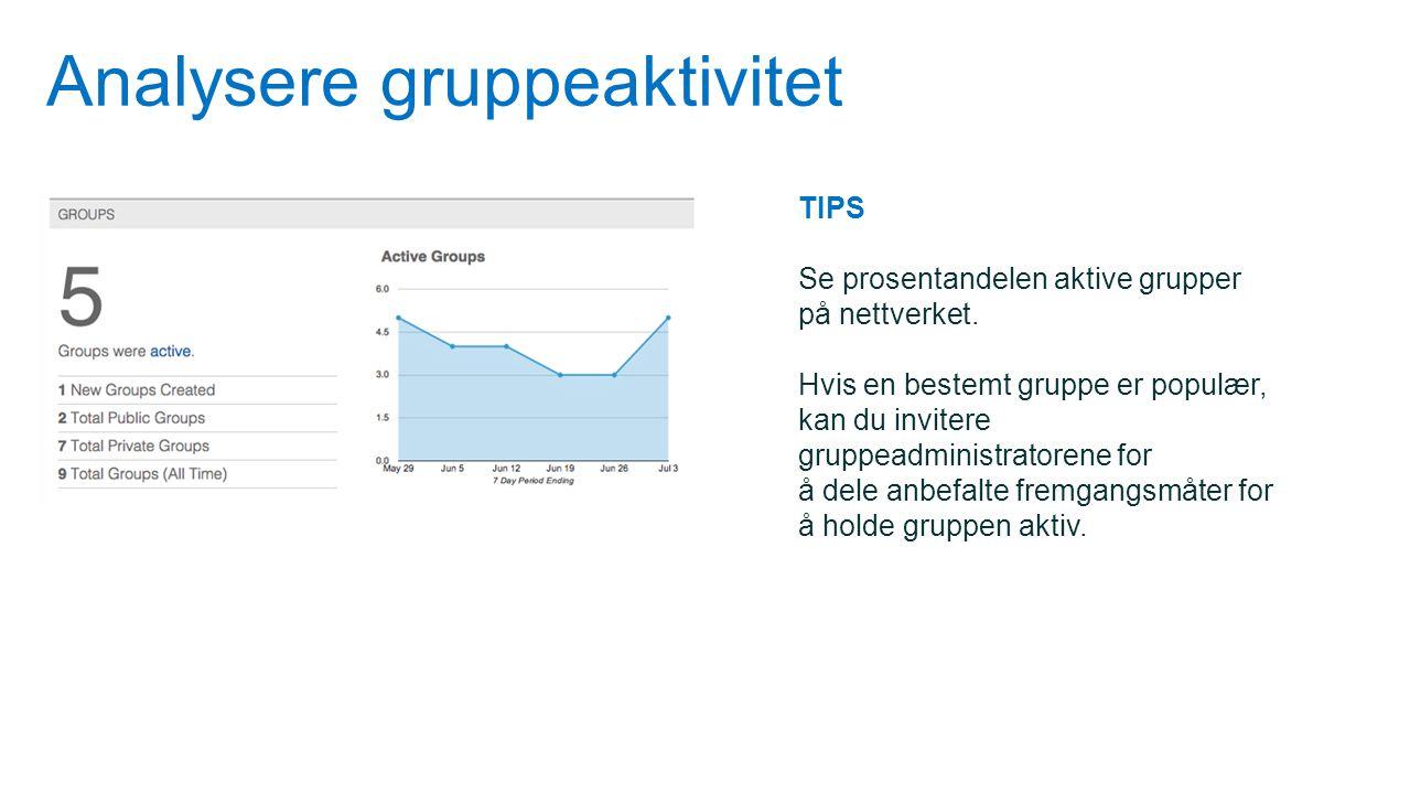 Analysere gruppeaktivitet TIPS Se prosentandelen aktive grupper på nettverket. Hvis en bestemt gruppe er populær, kan du invitere gruppeadministratore