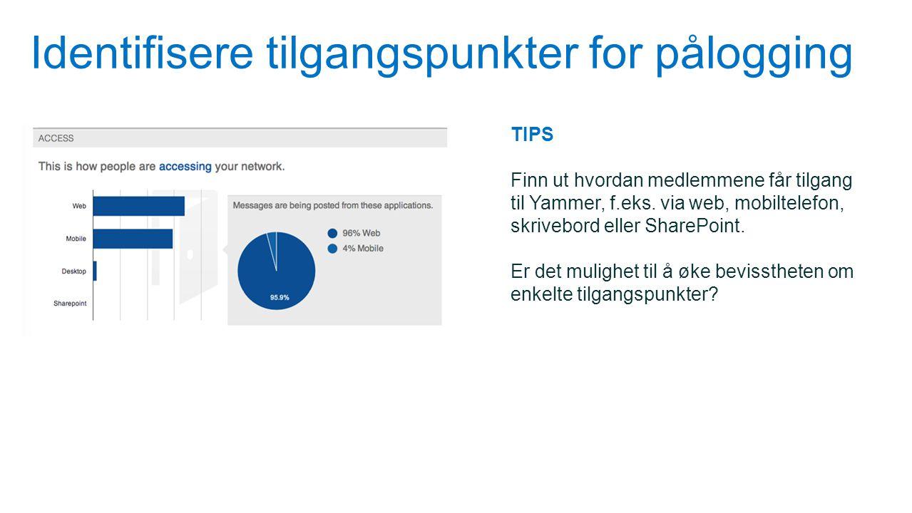 Identifisere tilgangspunkter for pålogging TIPS Finn ut hvordan medlemmene får tilgang til Yammer, f.eks. via web, mobiltelefon, skrivebord eller Shar