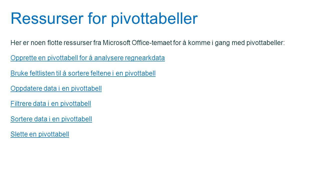 Ressurser for pivottabeller Her er noen flotte ressurser fra Microsoft Office-temaet for å komme i gang med pivottabeller: Opprette en pivottabell for